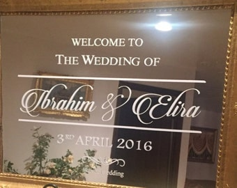 Welcome to the Wedding of. Custom Wedding/Engagement decal for mirror. Mirror Decal. Window Decal. Wall Decal. Wedding Decal.