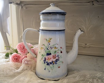 Vintage coffee maker, enameled sheet, shabby decorations, 1930's