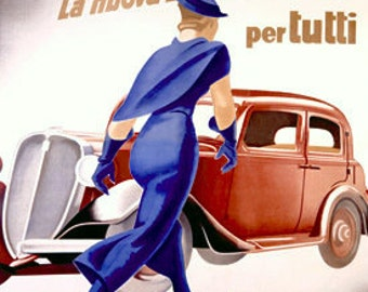 Fiat Balilla 1949 High Quality Giclee Art Print