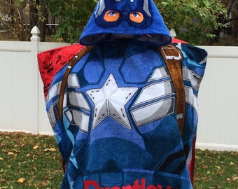 Captain America Hero Boy's Hooded Towel Poncho – Personalized