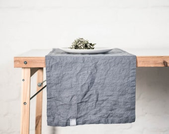 Linen table runner. Dark grey/graphiyte handmade linen table runner.