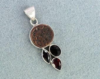 On Sale Rare Indian Copper Coin, Smoky Quartz, Garnet Gemstone 925 Sterling Silver Pendant, ,Handmade Wedding Gift Jewelry