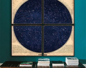 "Northern Sky map 1850, Astronomical chart, star constellations, 4 sizes up to 60x60"" 150x150 cm in 1 or 4 parts - Limited Edition of 100"