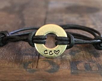 Personalized Washer Bracelet, Handstamped Bracelet, Personalized Jewelry, Initial Bracelet, Couples Gifts, Boyfriend Gifts, Girlfriend Gifts