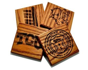Texas Christian University (TCU) Horned Frogs Custom Woodburned Coaster Set