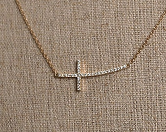 Curved Diamond Sideways Cross Necklace