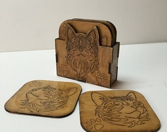 Cats Art Collection 7-Piece Coaster Set 6 coasters and holder