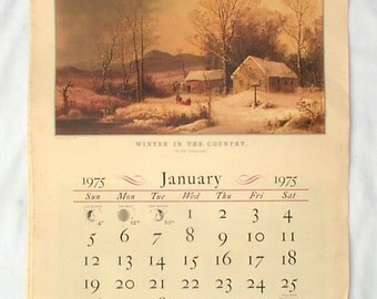 Vintage 1975 Travelers Insurance Calendar Currier And Ives Prints