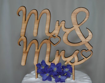 Wooden Rustic Mr & Mrs Cake Topper, Wedding Cake Topper, Bridal