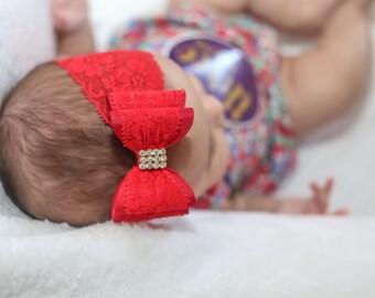Baby Headband, Red Big Bow Headband, Christmas Headband, Red Baby Headband, Lace Headband, Red Lace Headband, Baby Bow Headband, 908