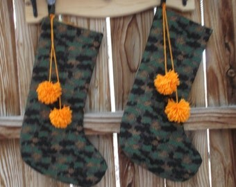 Cammo Christmas stocking, quilted stocking, handmade stocking, fabric stocking, 18 inches long