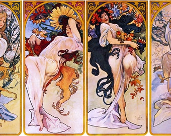 "Four Seasons by Alphonse Mucha, 8.5""x16"", Giclee Print on Canvas"