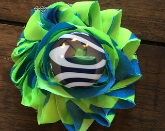 Seahawks Hair Clip, Lime Green and swirl flower with a Seahawks embellishment