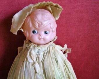 Carnival Doll / Kewpie -Long Crepe Paper Dress-Bed Doll 1920s