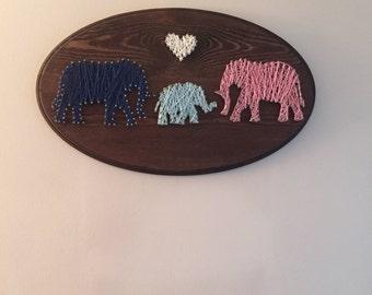 Elephant family string art