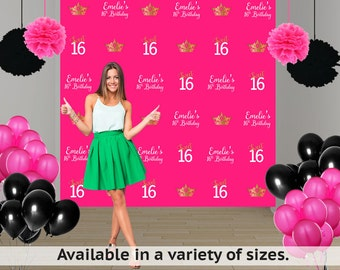 Sweet 16 Personalized Photo Backdrop - Step and Repeat Photo Backdrop- Princess Photo Backdrop, Princess Photo Backrop