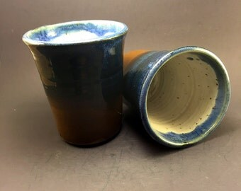 Tumbler with Blue and Brown Glaze