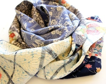 Japanese silk kimono hand made scarf made from new material **S73**