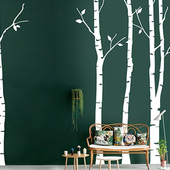 White tree wall decal birch tree wall by walldecorative on for White birch tree wall decal decorations