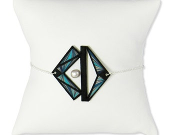 Visual bracelet - Graphic bracelet - Geometrical bracelet - Bracelet leather - Adjustable bracelet - Leather - Graphic - Kathleen Bellonde