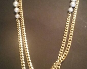 Vintage Pearl Gold Link Necklace Costume Jewelry