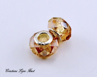 Choose 2 or 5 Murano glass beads charm European style ! Amber color !