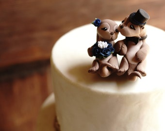 SEA OTTER Wedding Cake Topper - Hand holding otters - Warranty Protection Included