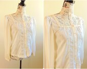70's Victorian Revival Lace Button Up Blouse, White Cream, Pearl Buttons, High Collared, Puffed Bishop Sleeve