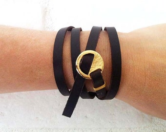 Brown Leather Wrap Bracelet,Wrap Boho Bracelet, Mulit Wrap Bracelet,Leather Bracelet,Wrap Around, Leather Bracelet, Boho Bracelet, Hers