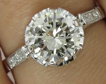 1.63ct Antique Vintage Art Deco Old European Diamond Engagement Wedding Platinum Ring