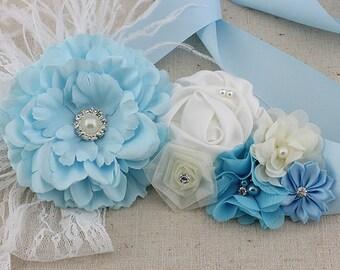 SALE!! Pregnancy/maternity Vintage Rosette Sash Belt Blue Sashes flowers Pearl Rhinestones