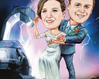 Custom couples caricature from photos