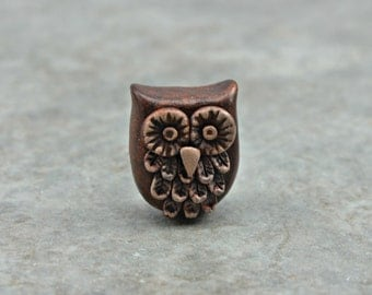 Bronze Owl Bead, handcrafted polymer clay owl bead