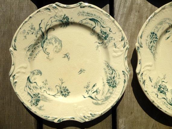Rare assiette fa ence de gien fran aise xix me d cor v g tal for Decoration quadrilobe
