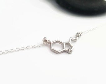 Serotonin Molecule necklace - Sterling silver Serotonin jewelry - Happiness necklace - Chemistry jewelry - Silver unique molecule necklace