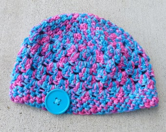Toddler Hat--Turquoise/Pink Multi with Turquoise Button