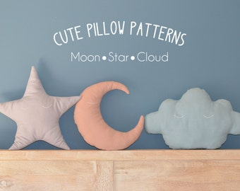 Moon - Star - Cloud Pillow Sewing Pattern // Make your own // Toy Pattern // Easy Sewing Pattern // Instant Download // PDF //  Solipandi
