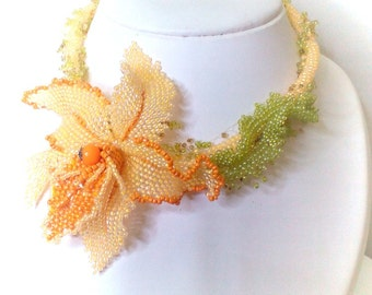Necklace from beads,  Handmade necklace  , Orchid , Orchid beaded .