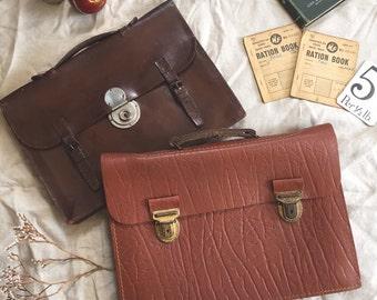 FLASH SALE- Vintage Leather Clasp Satchel