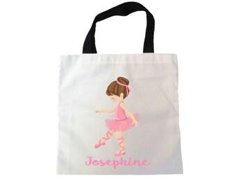 ballet tote bag, little ballerina tote bag, personalized tote, stocking stuffer, dance class bag, ballet class bag, children tote bag