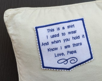 Personalized Memories Pillow Pocket Patch- Memorial Gift Patch-Father Gift Pillow Patch-Embroidered-Iron On-Sew On Patch-Free Gift Box