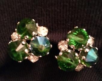Coro Emerald Green Rhinestone Earrings
