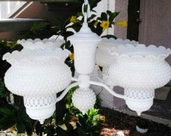 White vintage, hobnail chandelier.