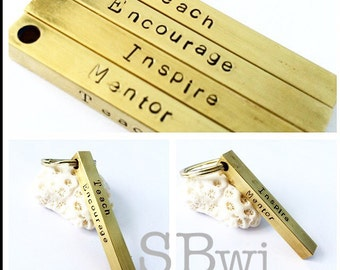 4 sided 100% brass teacher gift keychain