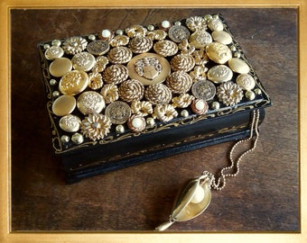 Handmade altered wooden black and gold vintage buttons box