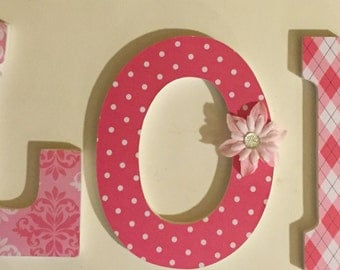 girls wall letters, baby nursery wood letters, name art, Londyn in pink, decorative wall letters, custom letters for wall,