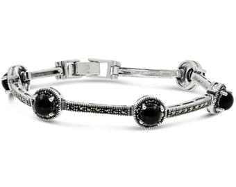 Sterling Silver 925 Vintage Black Onyx And Marcasite Bracelet