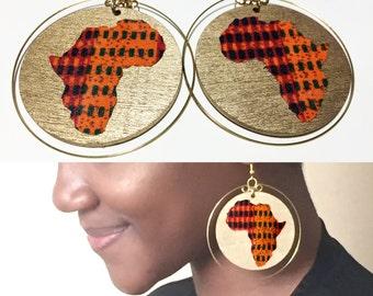 Map of Africa earrings, African fabric earrings, African earrings, wooden earrings, African Map earring, wooden hoop earrings