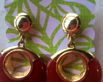 Vintage Gold Plate Carnelian Hoop Earrings