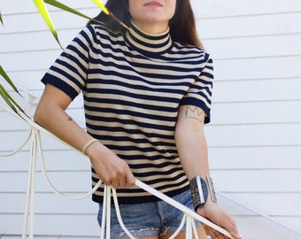 80's Striped S/S Tee with Mock Neck